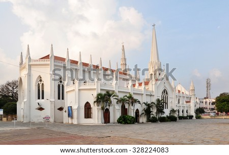 San Thome Basilica is a Roman Catholic minor basilica in Chennai, India. It was built in the 16th century by Portuguese explorers, over the tomb of St. Thomas, an apostle of Jesus. - stock photo