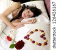 San Valentine gifts for woman  rose chocolate teddy bear love message - stock photo