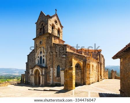 San Vicente Martir y San Sebastian church in Frias.  Burgos, Spain - stock photo