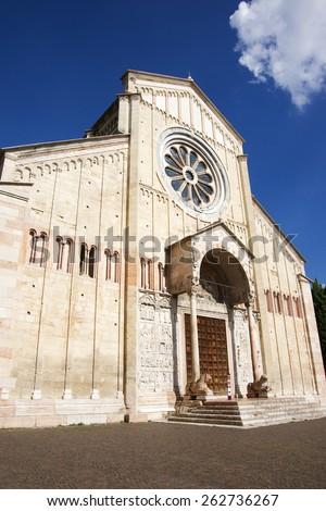 San Zeno Maggiore basilica front facade (frontispiece) summer in Verona, Italy - stock photo