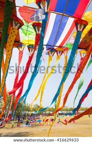 Sanam Luang, Bangkok-Thailand, Thailand and international kite kite show, April 24: The 234 Year of Rattanakosin City under Royal Benevolence on April. 24,2016 in Bangkok, Thailand. - stock photo