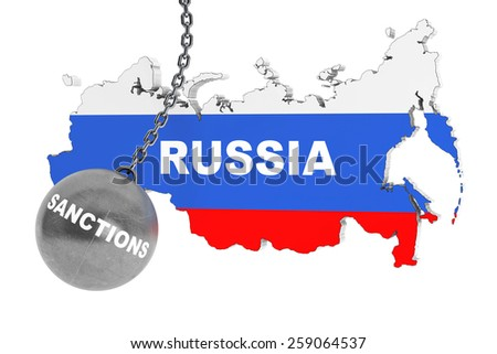 Sanctions Destroy Russia Concept.  Wrecking Ball as Sunctions with Russia Map on a white background - stock photo