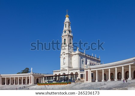 Sanctuary of Fatima, Portugal. Basilica of Nossa Senhora do Rosario and the colonnade. One of the most important Marian Shrines and pilgrimage locations for the Catholics - stock photo