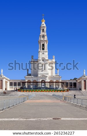 Sanctuary of Fatima, Portugal. Basilica of Nossa Senhora do Rosario in the Sanctuary of Fatima. One of the most important Marian Shrines and pilgrimage location in the world for Catholics - stock photo