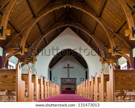 Sanctuary of Mammoth Chapel, part of Fort Yellowstone at the Mammoth Hot Springs area of Yellowstone National Park, Wyoming, USA - stock photo