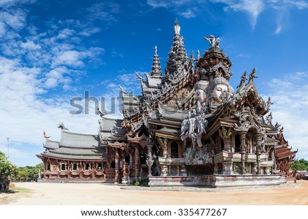 Sanctuary of Truth in Pattaya by day - stock photo