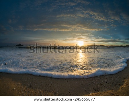 sand and beach with sunset in Thailand - stock photo