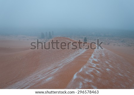 Sand and Snow at Coral Pink Sanddunes - stock photo