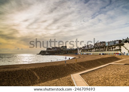 Sand banked up to protect the beach from winter erosion, in Broadstairs  a coastal town on the Isle of Thanet in Kent, England,  - stock photo
