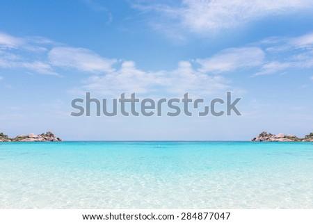 sand beach against blue sky. Similan islands, Thailand, Phuket. - stock photo