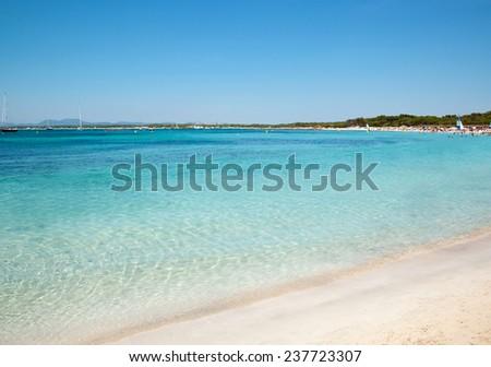Sand beach clear sea water, Es Trenc, Majorca island, Spain - stock photo
