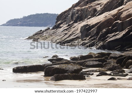 Sand beach in Acadia National Park at Maine - stock photo