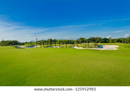 Sand bunkers on the golf course. Mexican resort. Bahia Principe, Riviera Maya. - stock photo