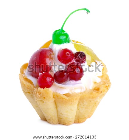 Sand cake with cream and fruit isolated on white background - stock photo