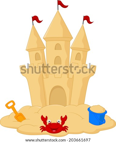 Sand castle cartoon - stock photo