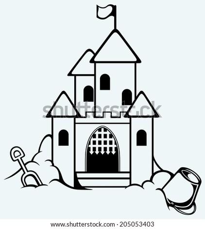 Sand castle. Childrens bucket and shovel. Raster version - stock photo