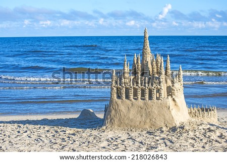 Sand castle on a beach of the Baltic Sea in Poland - stock photo