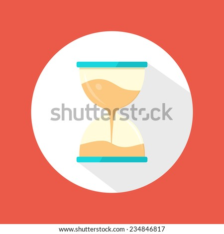 Sand clock icon. Flat modern icon with long shadow. Raster version - stock photo