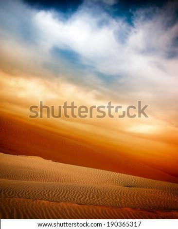sand desert, sunset - stock photo