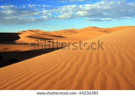 Sand Desert with Dunes in Marocco, Africa - stock photo