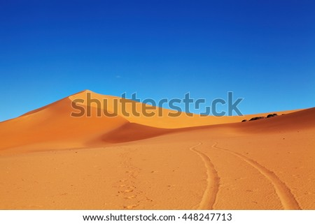 Sand dune in Sahara Desert, Algeria - stock photo