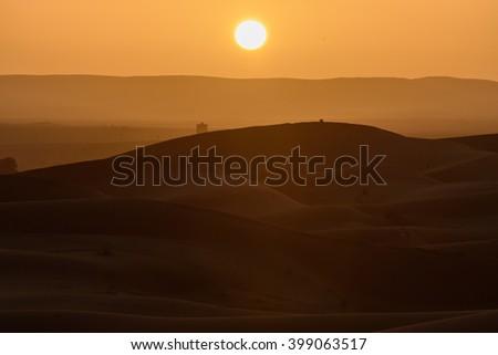 Sand dunes at sunset, Sahara Desert, Hassilabied, Morocco - stock photo