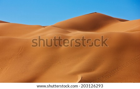 Sand dunes in a desert in California, near the Mexican border, USA - stock photo