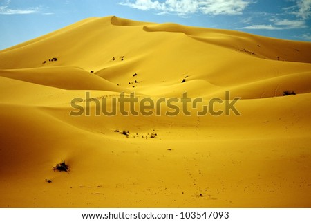Sand dunes in Erg Chebbi, Morocco - stock photo