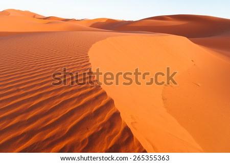 Sand Dunes in the Erg Chebbi Desert, Western Sahara, Morocco - stock photo