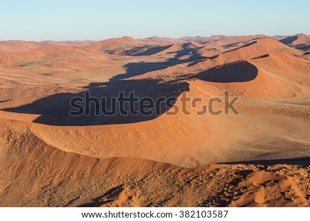 Sand Dunes landscape taken from the hot air balloon in Namibia - stock photo