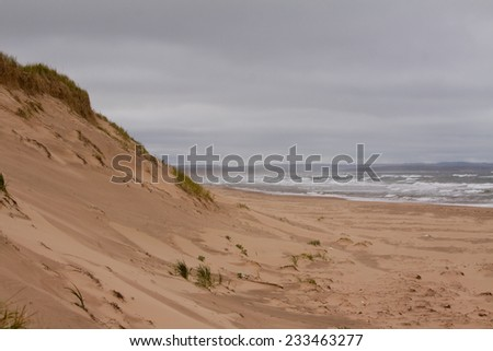 Sand Dunes leading down to the ocean, Prince Edward Island National Park, on the north shore of Prince Edward Island, Canada - stock photo