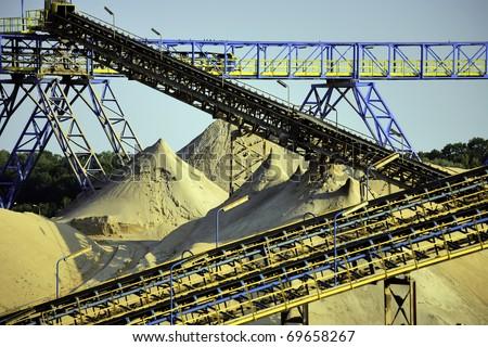 Sand excavation plant - stock photo