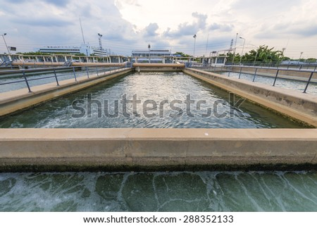 sand filtration tank at water treatment plant - stock photo