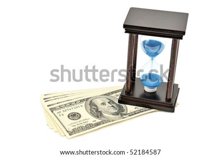 sand-glass and dollar. Concept - time is money - stock photo