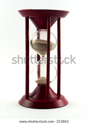 sand glass in wooden stand - stock photo