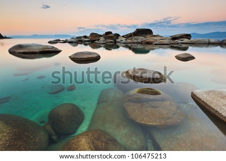 Sand Harbor in Lake Tahoe, Nevada is a very zen like experience, especially early in the morning. - stock photo