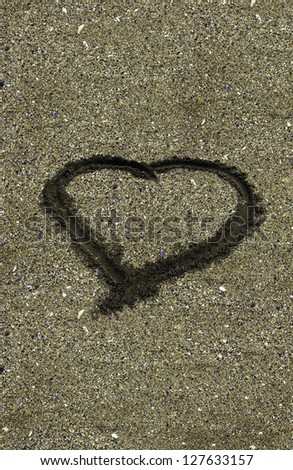 Sand heart of love - stock photo