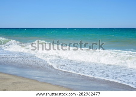 Sand of beach Mediterranean sea in Andalucia, Spain - stock photo