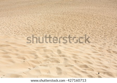 Sand patterns after wind  on the Nature reserve, Park Natural, Corralejo, Fuerteventura, Canary Islands, Spain. - stock photo