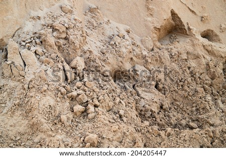 Sand pit. Pile of sand closeup - stock photo