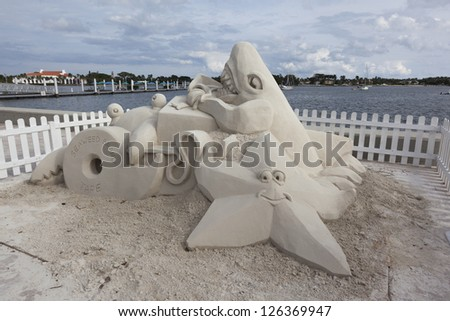 Sand sculpture at Sea Sun's Greeting in West Palm Beach, Florida. - stock photo