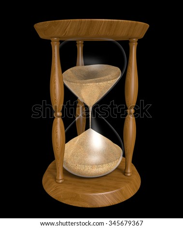 Sand trickling down an old wood hourglass as time passes - stock photo