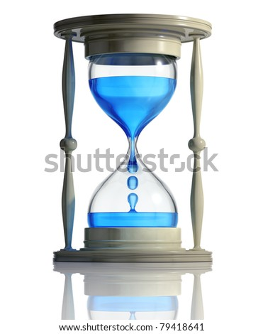 Sand watch with water dropping inside isolated on white background. Time runs fast concept. 3d - stock photo