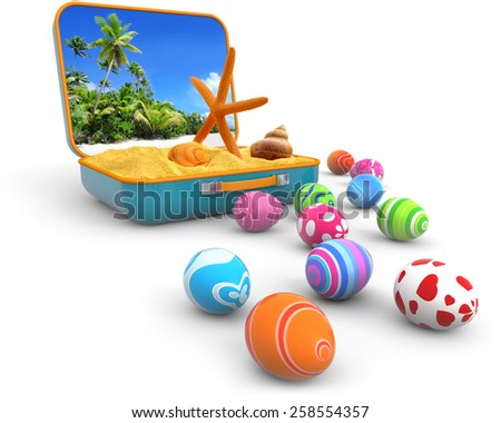 sand with seashells in a suitcase and easter eggs - stock photo