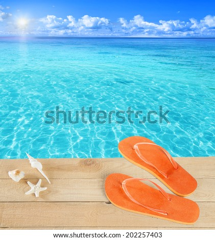 Sandals by a tropical pool - stock photo