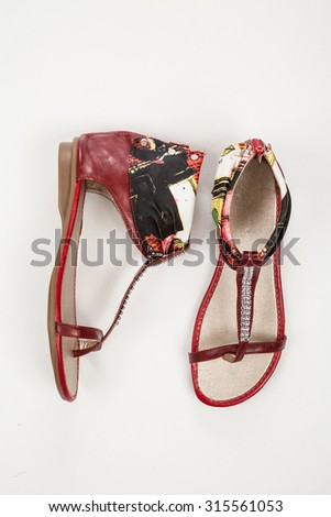 sandals for women on white background - stock photo