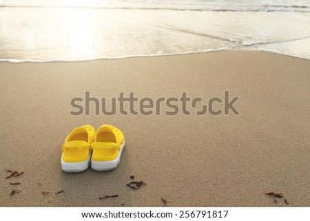 Sandals on the beach against a shoreline. Shallow DOF. - stock photo