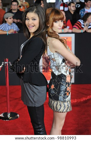 "Sandaya & Bella Thorne (right) at the world premiere of ""John Carter"" at the Regal Cinemas L.A. Live. February 22, 2012  Los Angeles, CA Picture: Paul Smith / Featureflash - stock photo"