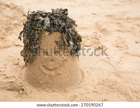 Sandcastle with seaweed making a smiley face  - stock photo
