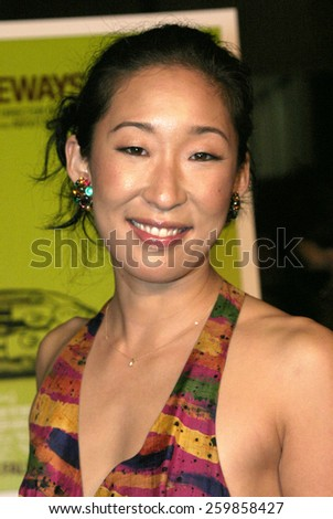 """Sandra Oh at the """"Sideways"""" Los Angeles Premiere held at the Academy of Motion Pictures Arts and Sciences in Beverly Hills, California United States on October 12 2004. - stock photo"""